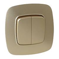 Вимикач 2-клавішний золото ELA