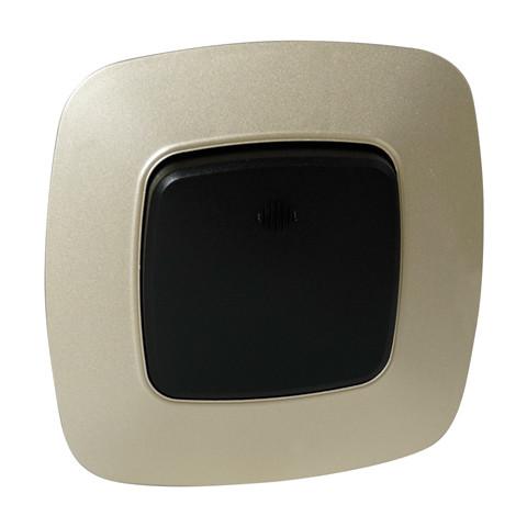 Выключатель 1-клавишный с подсветкой черный-золото ELA