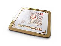 Инстаграм-визитка из акрила с QR кодом 200х200мм (Основание: Акрил металлик (серебро или золото);  Объемные
