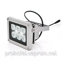 ИК прожектор YOSO 12V 16W, 6+2LED, IP66, 850Нм, угол обзора 60°, дальность до 30м, 110*86*63мм, BOX