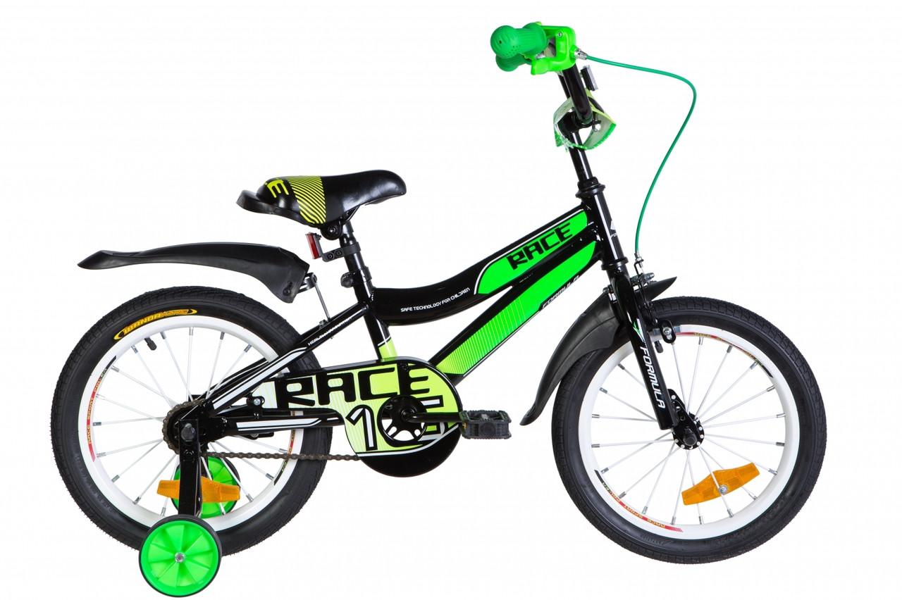 """Велосипед 16"""" Formula RACE 2021 (черно-зеленый с белым)"""