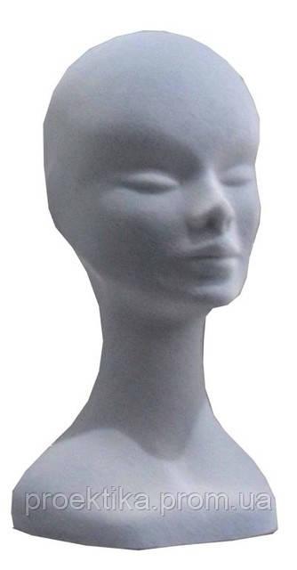 Голова женская серая флокированная, пенополистирол