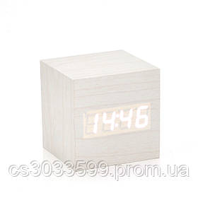 Електронні квадратні годинник з будильником, дерев'яні, білі
