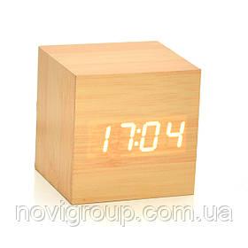 Електронні квадратні годинник з будильником, дерев'яні, бежеві