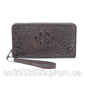 Темно-коричневий гаманець з крокодилової шкіри, чоловічий, прямокутний, з ремінцем, п'ять відділень