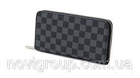 Чорний шкіряний гаманець, унісекс, прямокутний, чотири відділення