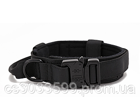 Нейлоновий тактичний зносостійкий нашийник для домашніх тварин Регульований 47-53 см Чорний