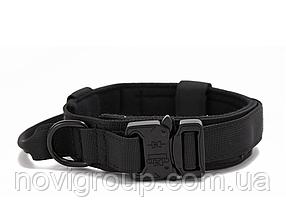 Нейлоновий зносостійкий тактичний нашийник для домашніх тварин Регульований 47-53 см Чорний