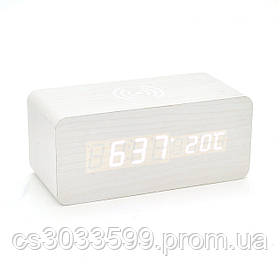 Електронний бездротовий прямокутний годинник з будильником, белые