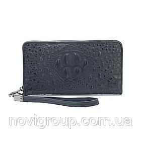 Чорний гаманець з крокодилової шкіри, чоловічий, прямокутний, з ремінцем, п'ять відділень
