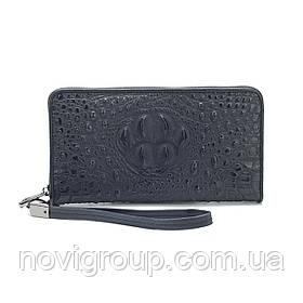 Чорний гаманець з телячої шкіри, чоловічий, прямокутний, з ремінцем, шість відділень