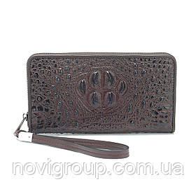 Коричневий гаманець з телячої шкіри, чоловічий, прямокутний, з ремінцем, шість відділень