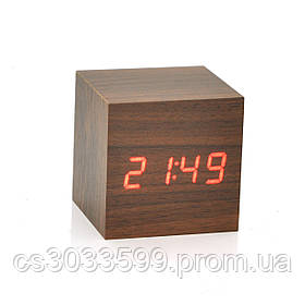 Електронний квадратний годинник з будильником, коричневий