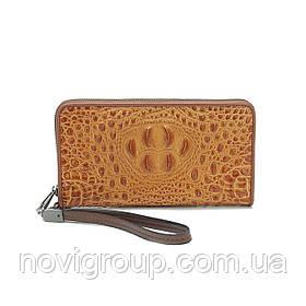 Світло-коричневий гаманець з крокодилової шкіри, чоловічий, прямокутний, з ремінцем, п'ять відділень