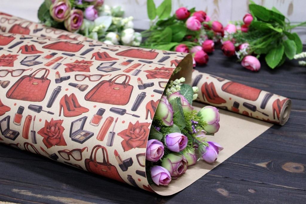 Односторонняя крафт бумага для цветов и подарков 70см*10м №1028БР 1-СТ