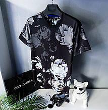 Футболка чорного кольору з ніжним квітковим принтом білого кольору Dolce&Gabbana ( репліка) L