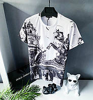 Футболка модная Dolce & Gabbana с черно-белым принтом стильная (Реплика) XL