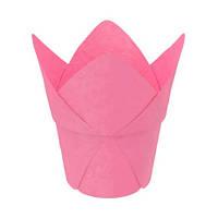 """Паперова формочка """"Тюльпан"""" с жорстким бортом (, d=50, h=60/90), рожева"""
