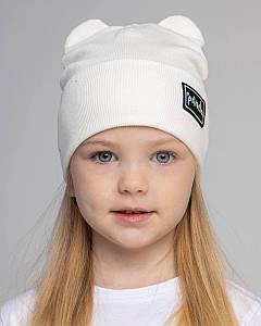 Шапка з відворотом для дівчинки з вушками на весну-осінь оптом - Артикул 2796