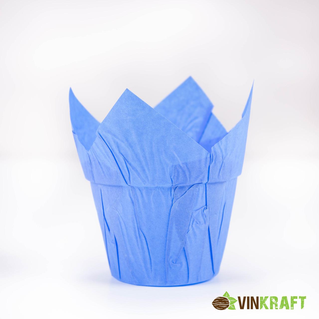 """Паперова формочка """"Тюльпан"""" с жорстким бортом (, d=50, h=60/90), синя"""