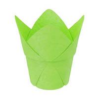 """Паперова формочка """"Тюльпан"""" с жорстким бортом (, d=50, h=60/90), зелена"""