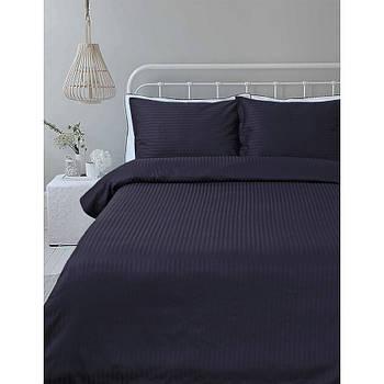 Постельное белье Lotus Отель - Сатин Страйп темно-синий 1*1 евро (Турция)