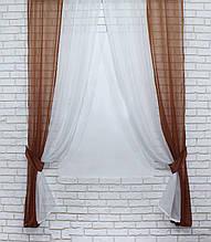 Комбіновані штори (2шт. 1,4х2,3м) із шифону. Колір коричневий з білим. 023дк 10-190