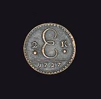 2 копейки 1727 года Вензель медь №162 копия
