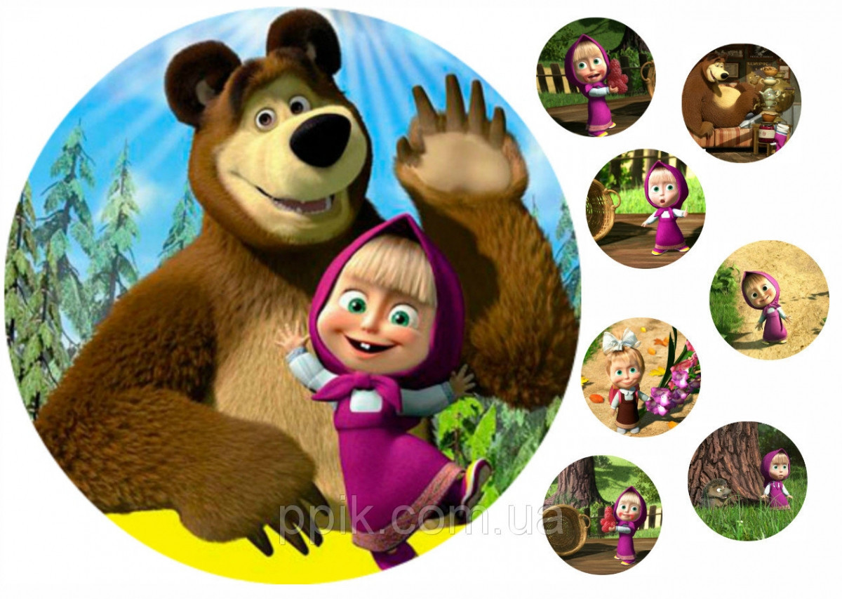 Вафельная картинка Маша и медведь 12