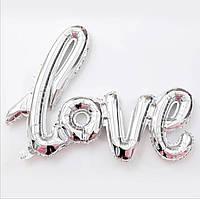 Надувные шарики LOVE (серебряный) 108см