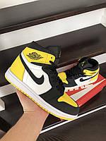 Кроссовки мужские Nike Air Jordan черно-белые с желтым, Найк, натуральная кожа, прошиты. Код SD-10251