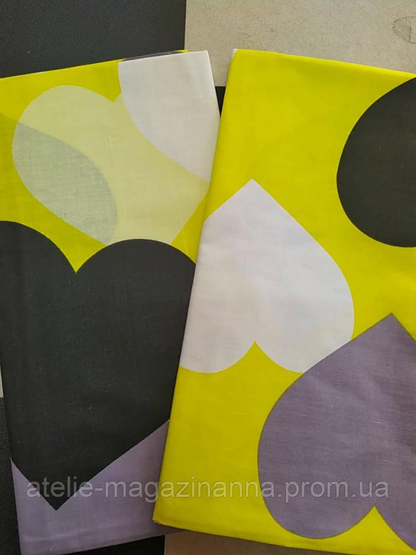 Наволочка на подушку 70*70 желтая в сердечки