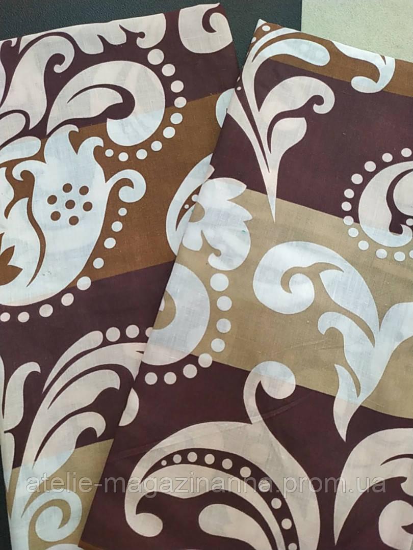 Наволочка на подушку из бязи 70*70 коричневая вензеля