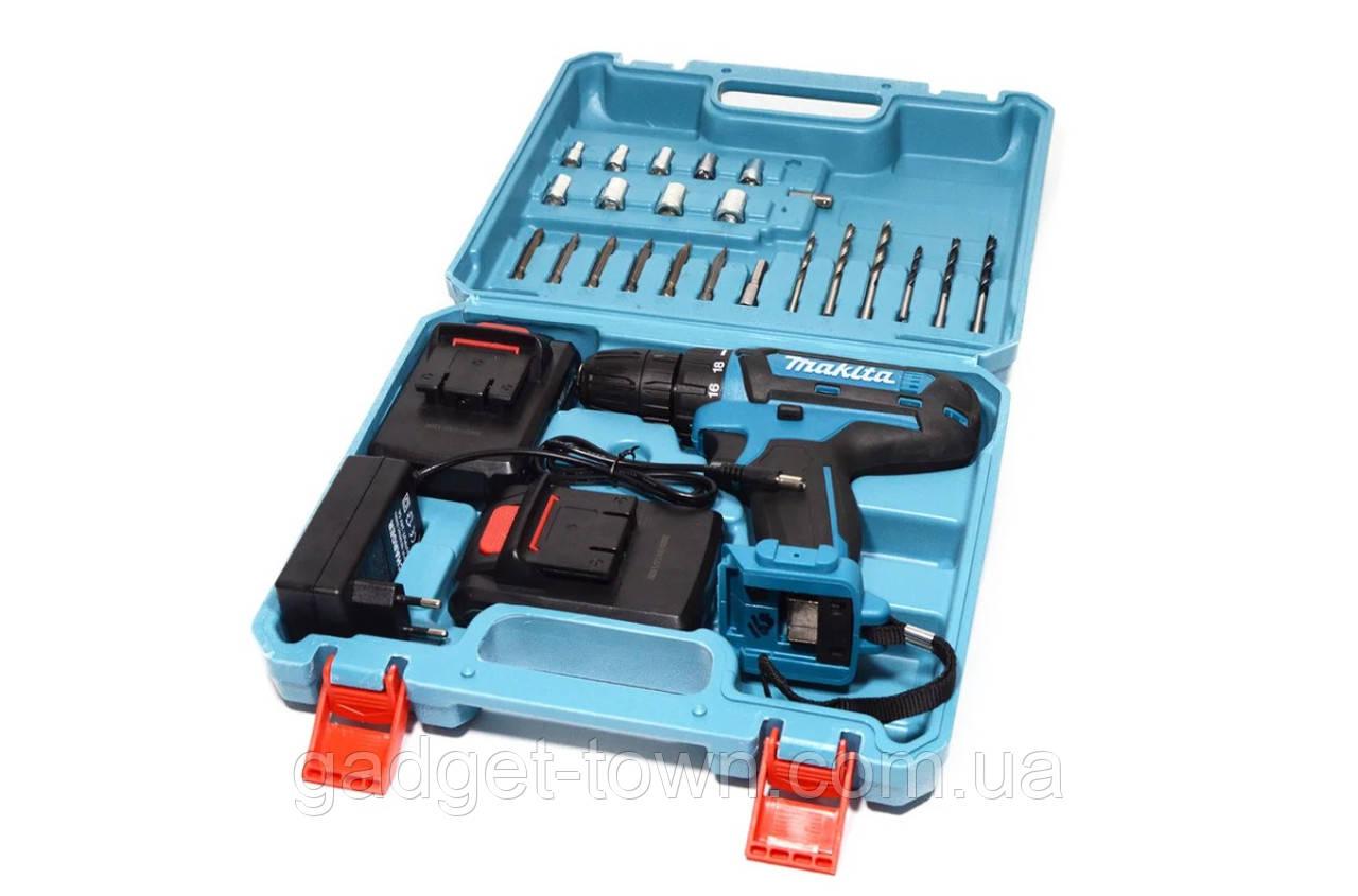 Шуруповерт аккумуляторный Makita 550DWE и набор инструментов в кейсе (Макита 24V 5A/h) 2 аккумулятора