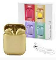 Бездротові сенсорні навушники inPods i12 TWS Bluetooth 5.0 Metallic Gold