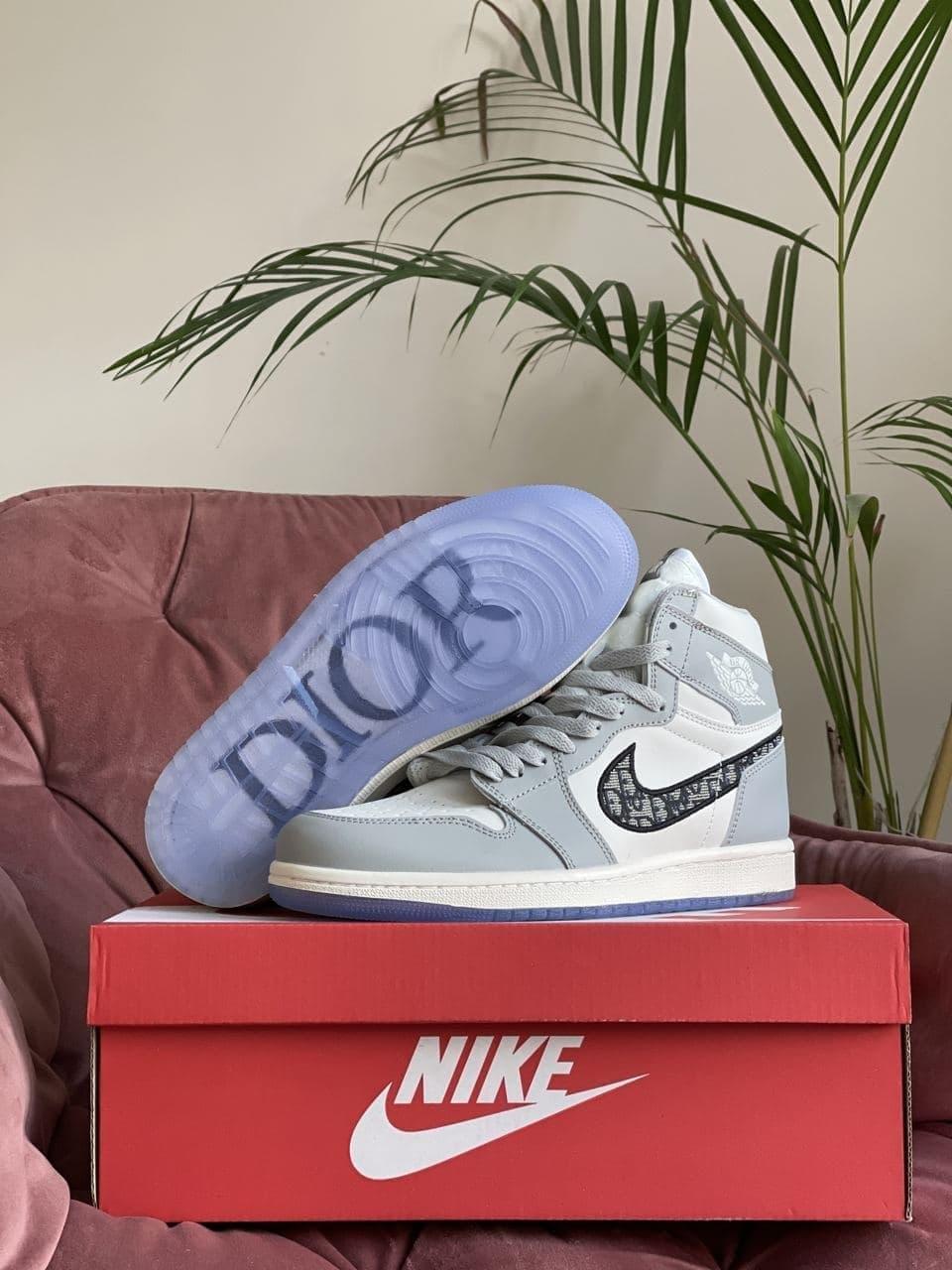 Кроссовки Nk Jordan 1 Dior серые с белым