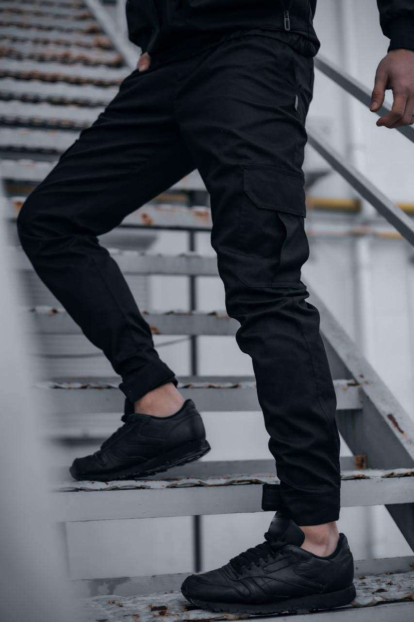 Штаны мужские коттоновые Intruder Baza брюки осенние, весенние, летние черные Intruder