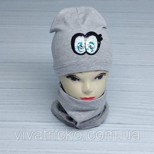 М 4536. Комплект для дівчаток шапка одинарна і баф Vivatricko, 3-8 років, різні кольори