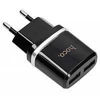 Сетевое зарядное устройство 2USB Hoco C12 (5V-2.4A) black
