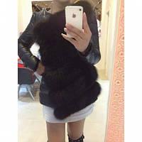Куртка женская  Драгун мех песец черная, стильные куртки