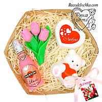 Мило набір 8 березня, мишко, букет тюльпанів, серце, мартіні, подарунок мамі, подрузі, жінці, ручна робота