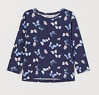 Лонгслив для девочки синий с бабочками H&M 104 см., 4 года