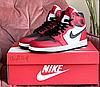 Жіночі високі кросівки Nike Air Jordan білі з червоним демісезонні підліткові кросівки найк аїр джордан