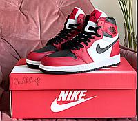 Жіночі високі кросівки Nike Air Jordan білі з червоним демісезонні підліткові кросівки найк аїр джордан, фото 1