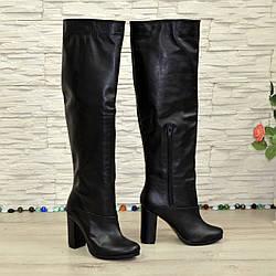 Кожаные демисезонные ботфорты трубы на устойчивом каблуке, цвет черный. 36 размер