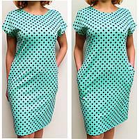Платье женское 62 (60,62,64,66) летнее большой размер бирюзовое горох батал