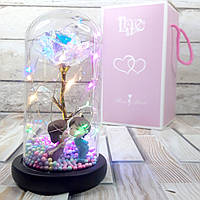 Роза в колбе с подсветкой золотая, подарок влюбленным, фигурки предложение (Живые фото!)