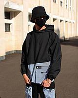 Анорак худи мужской черный с рефлективом весенний ветровка модель Мавадо