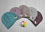 """М 4519. Шапка трикотажна меланж для дівчинки """"СЕРЦЕ"""", Vivatricko 3-8 років, різні кольори, фото 6"""