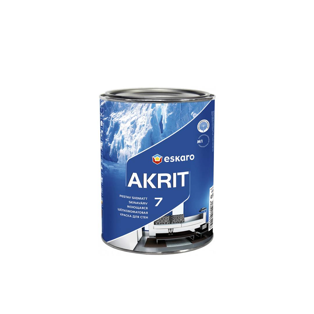 Моющаяся краска для стен и потолка Eskaro Akrit 7 TR 0,9л (транспарентная)